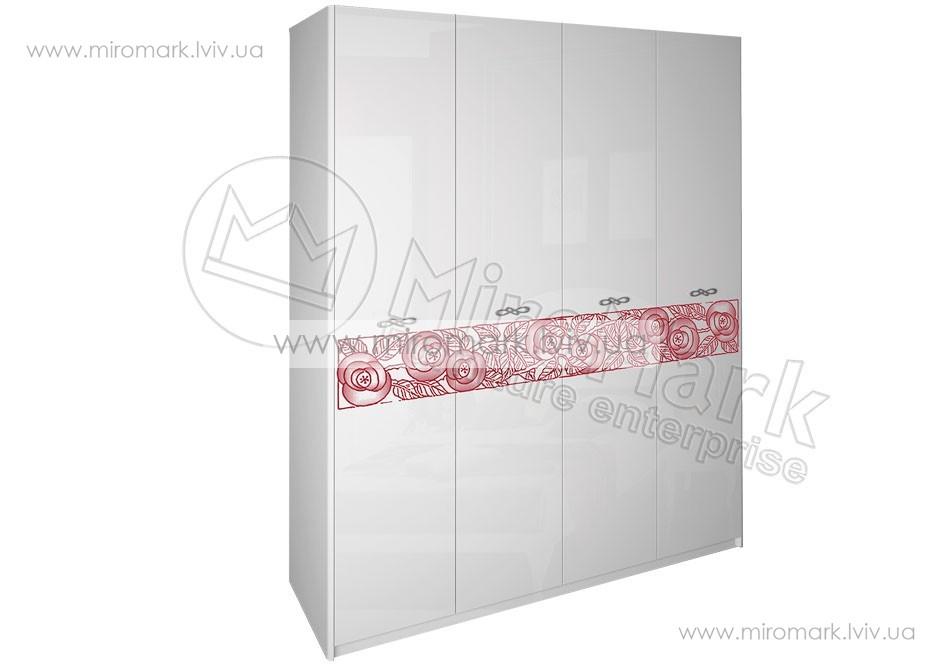Флора шкаф 4дв без зеркал белый глянец