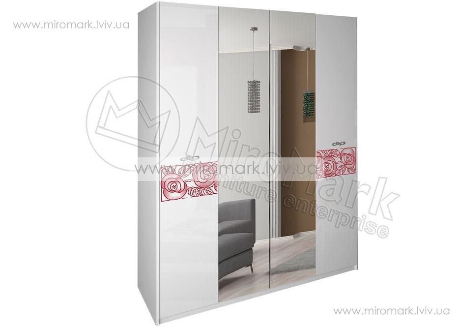 Флора шкаф 4дв белый глянец