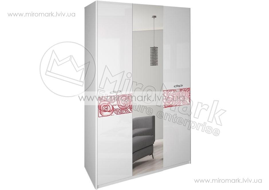 Флора шкаф 3дв белый глянец