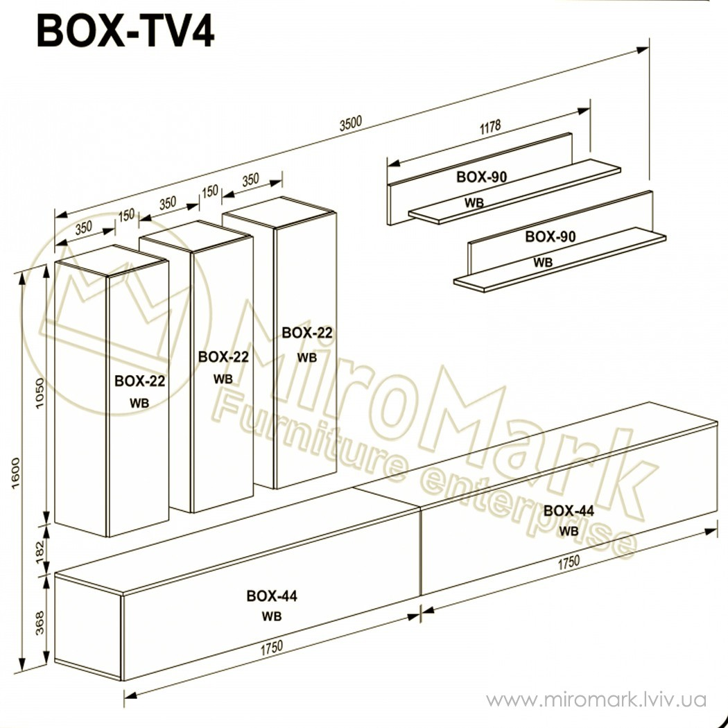 Гостиная Box вариант TV-4