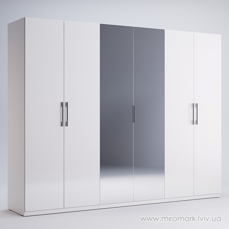 Шкаф 6 дверей с зеркалом Фемели
