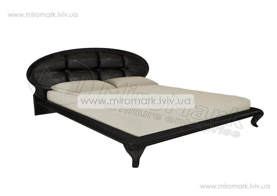 Пиония кровать 160 с мягкой спинкой глянец черный-золото