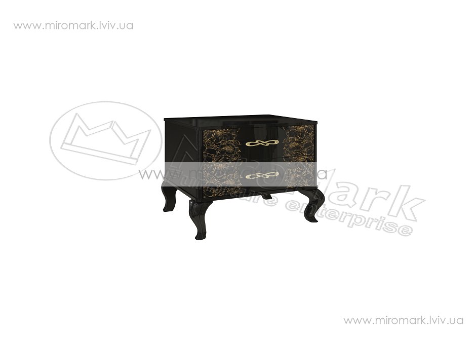 Пиония прикроватная тумба глянец черный-золото