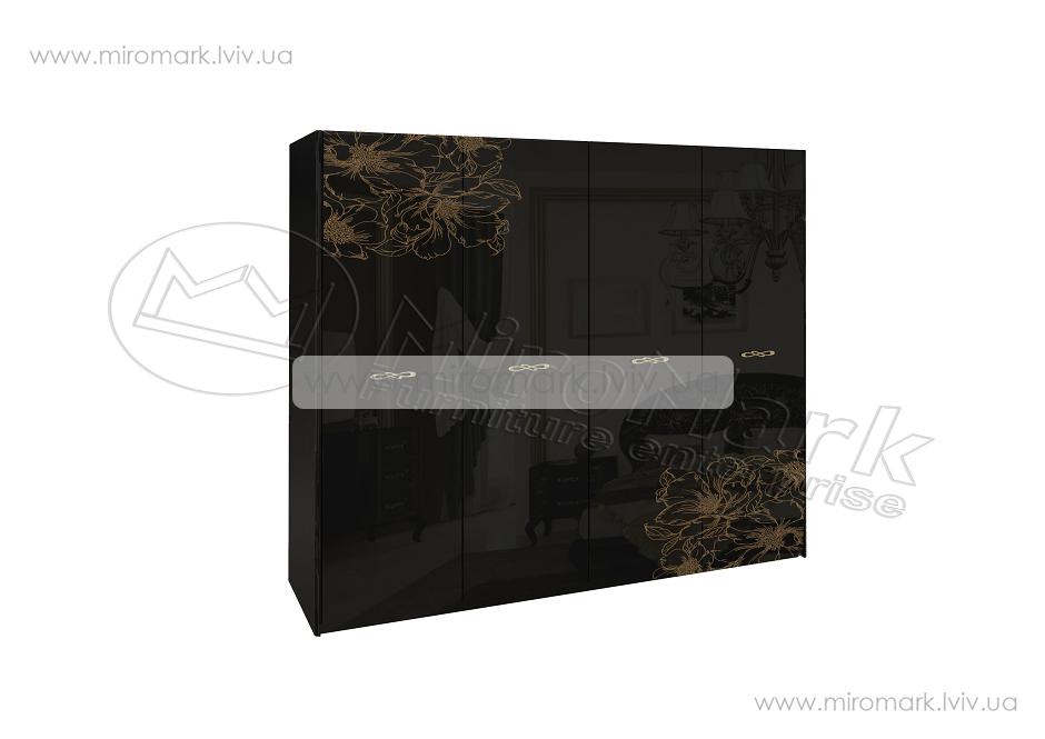 Пиония шкаф 4дв глянец черный-золото