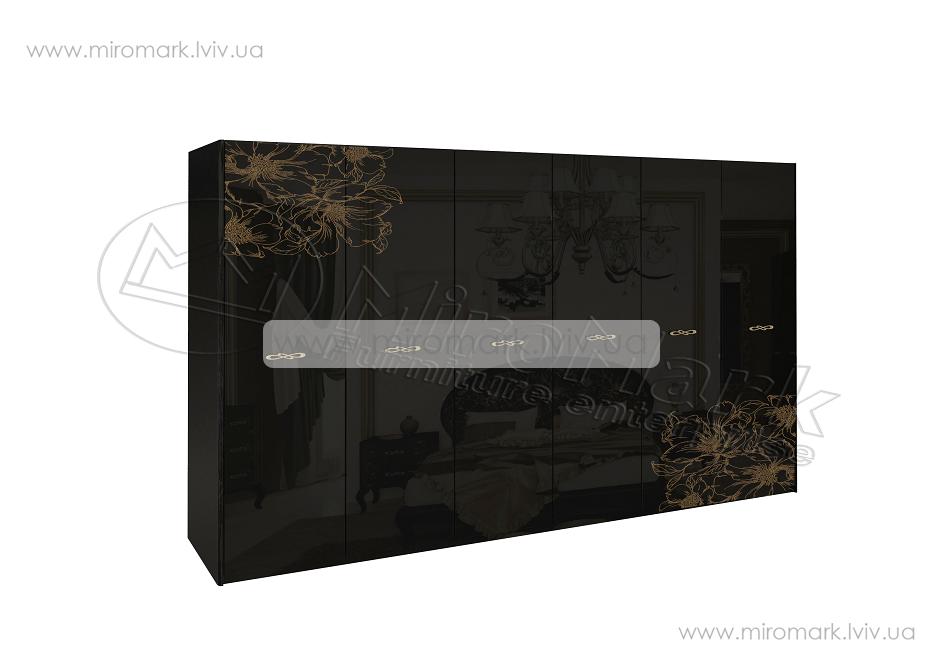 Пиония шкаф 6дв глянец черный-золото