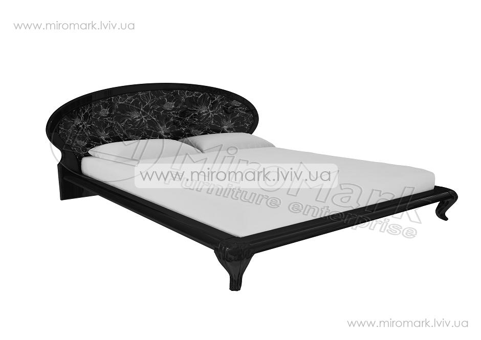 Пиония кровать 160 глянец черный-серебро