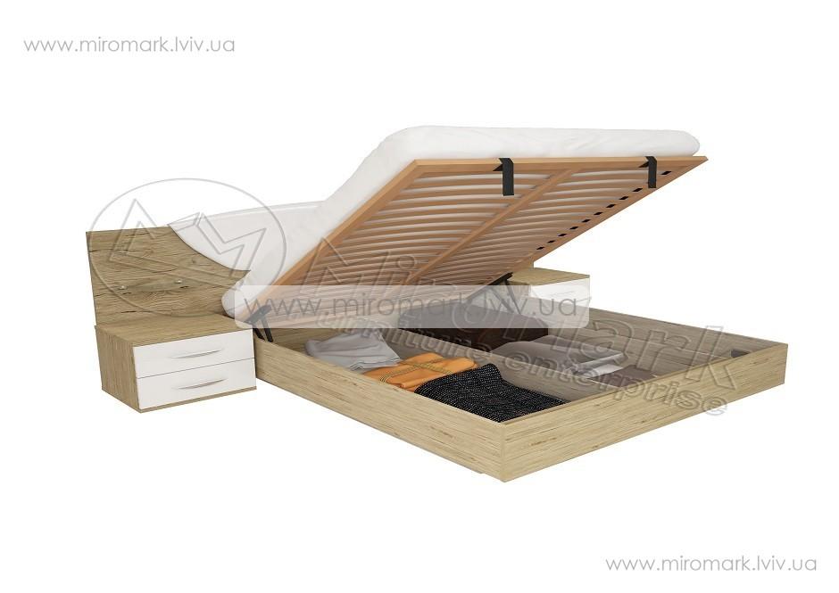 Миллениум кровать 160 подъемная с каркасом белый глянец-Сан-Марино