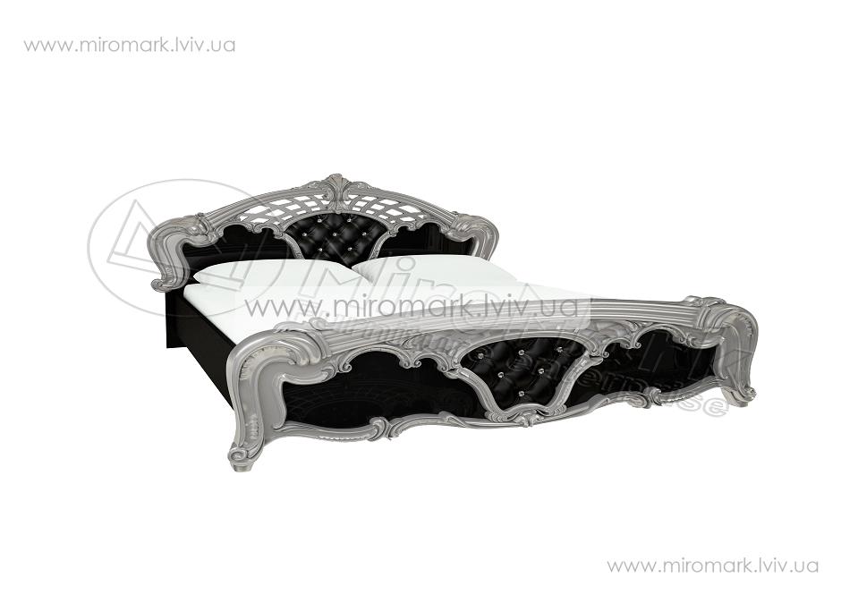 Реджина кровать 160 с каркасом глянец черный-серебро