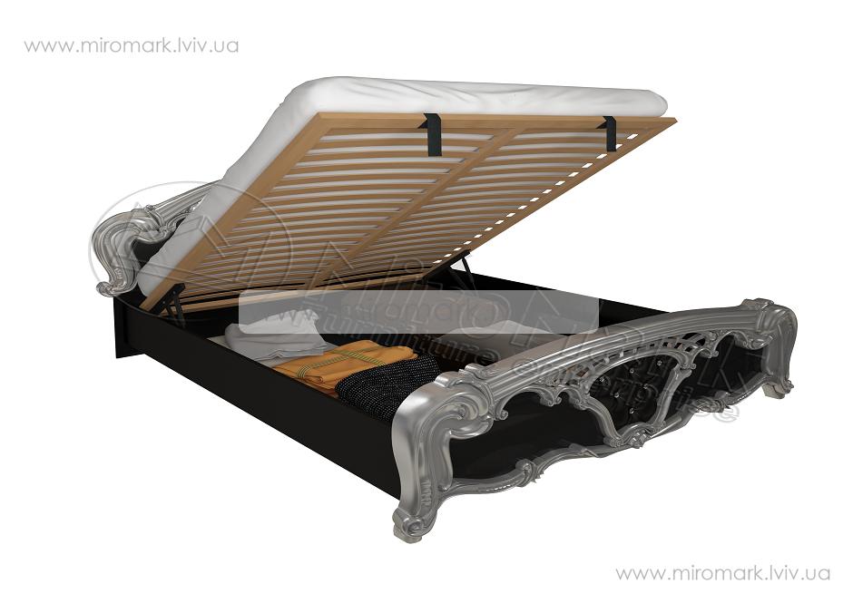 Реджина кровать 160 подъемная с каркасом глянец черный-серебро