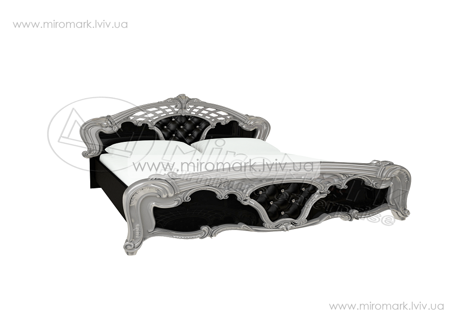 Реджина кровать 180 с каркасом глянец черный-серебро