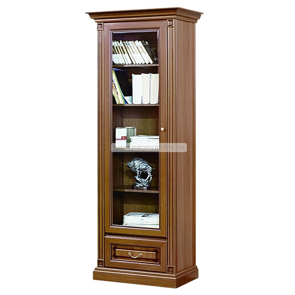 Витрина 1-но дверная с ящиком (полки стекло) Набукко