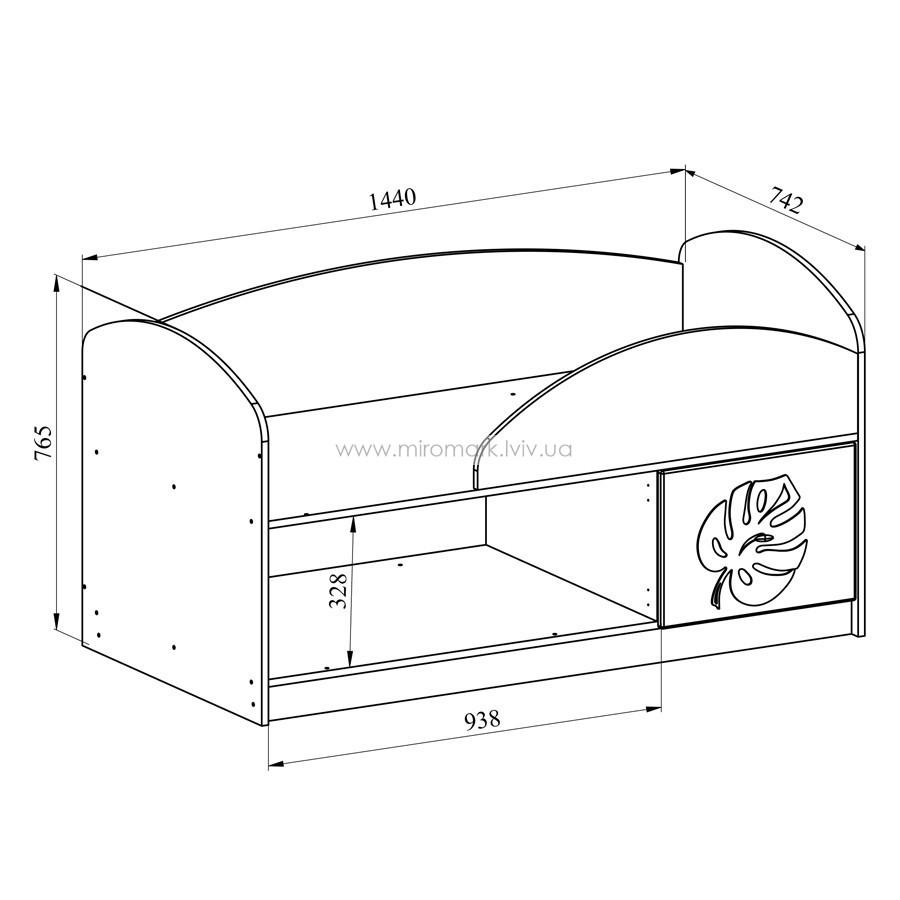 Кровать МДМ-1 «Маугли» лайм