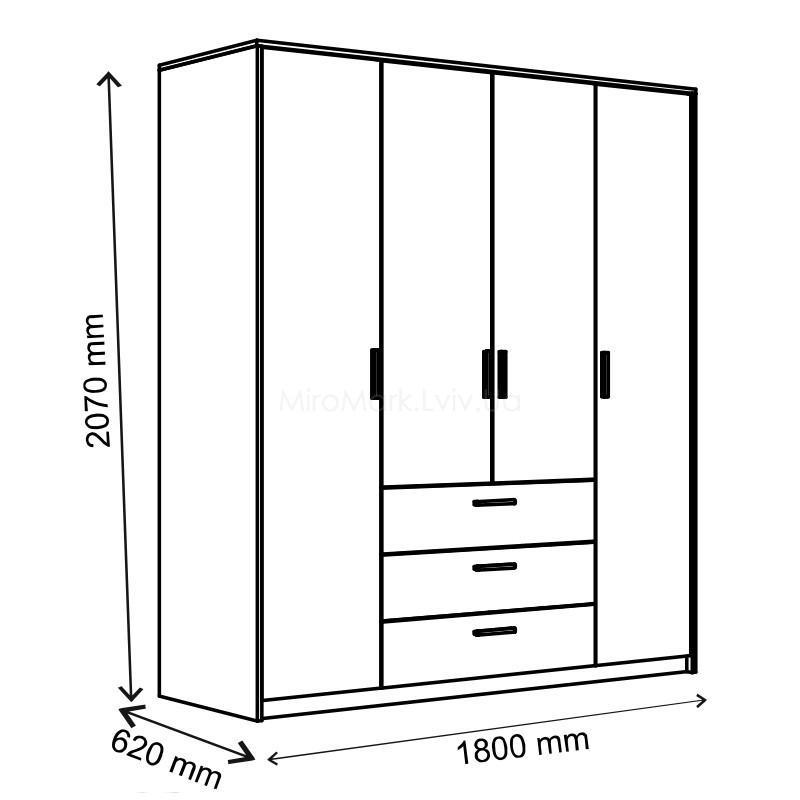 Шкаф 4 дв с 3 ящиками Рико