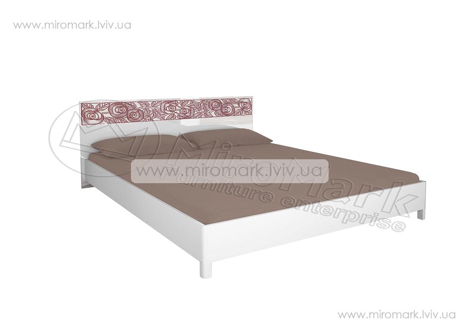 Флора кровать 160 подъемная с каркасом белый глянец