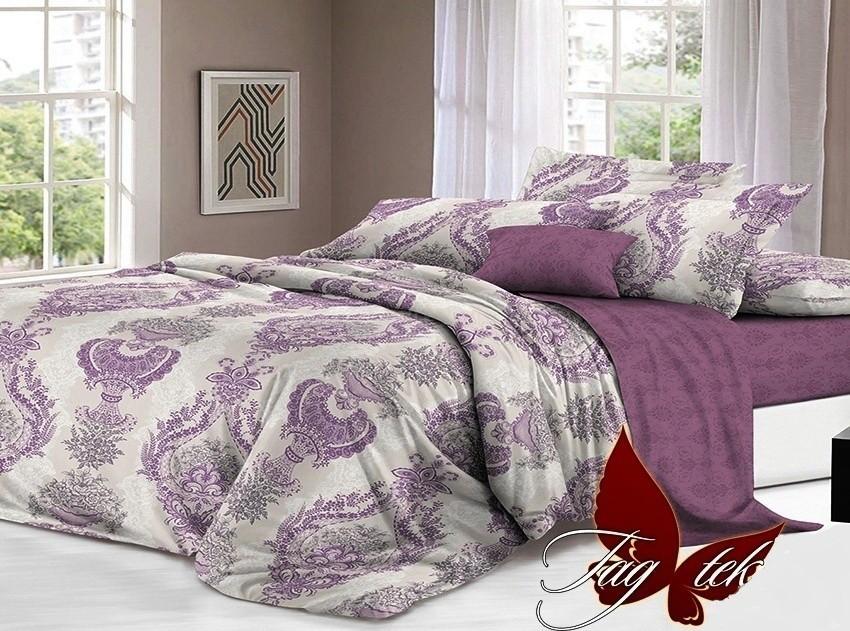 Комплект постельного белья ТМ TAG сатин-люкс с компаньоном S186