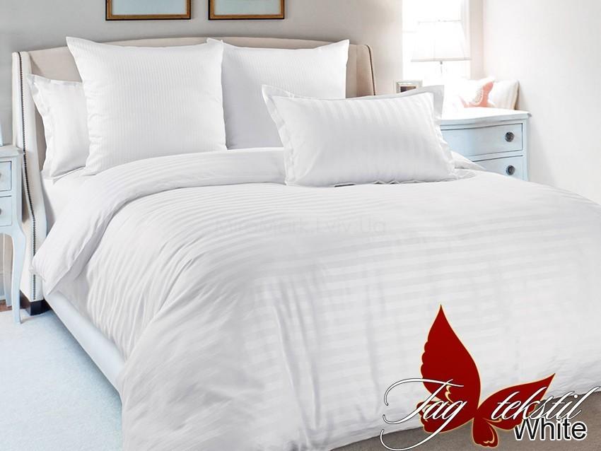 Комплект постельного белья ТМ TAG страйп-сатин White