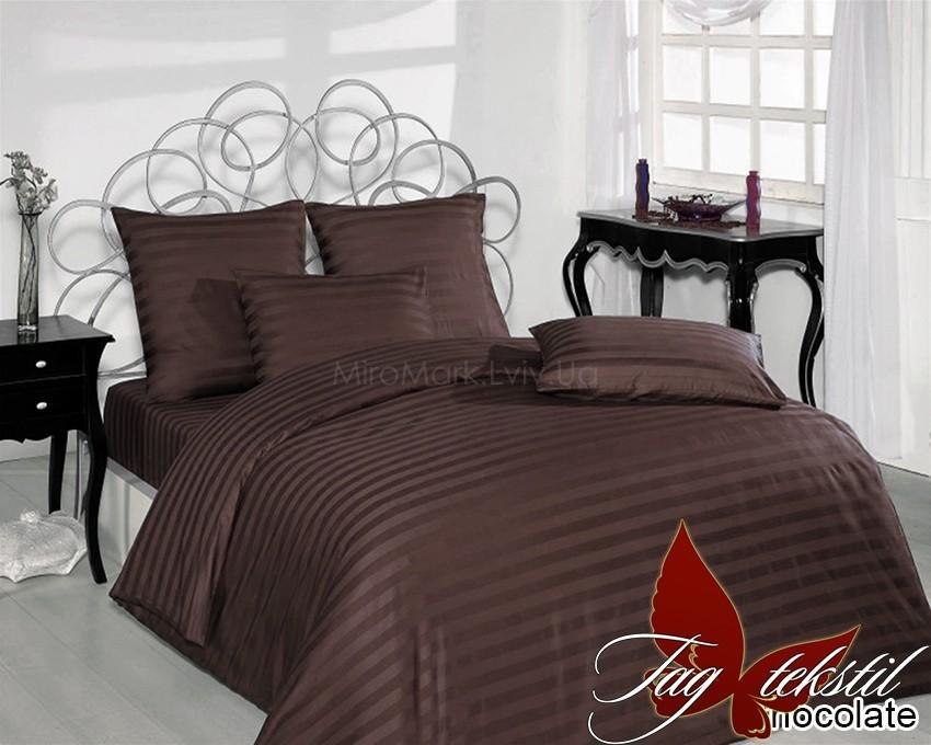 Комплект постельного белья ТМ TAG страйп-сатин Chocolate