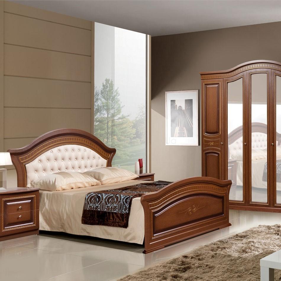 Кровать с мягкой спинкой Венера Слониммебель (180 см) цвет орех
