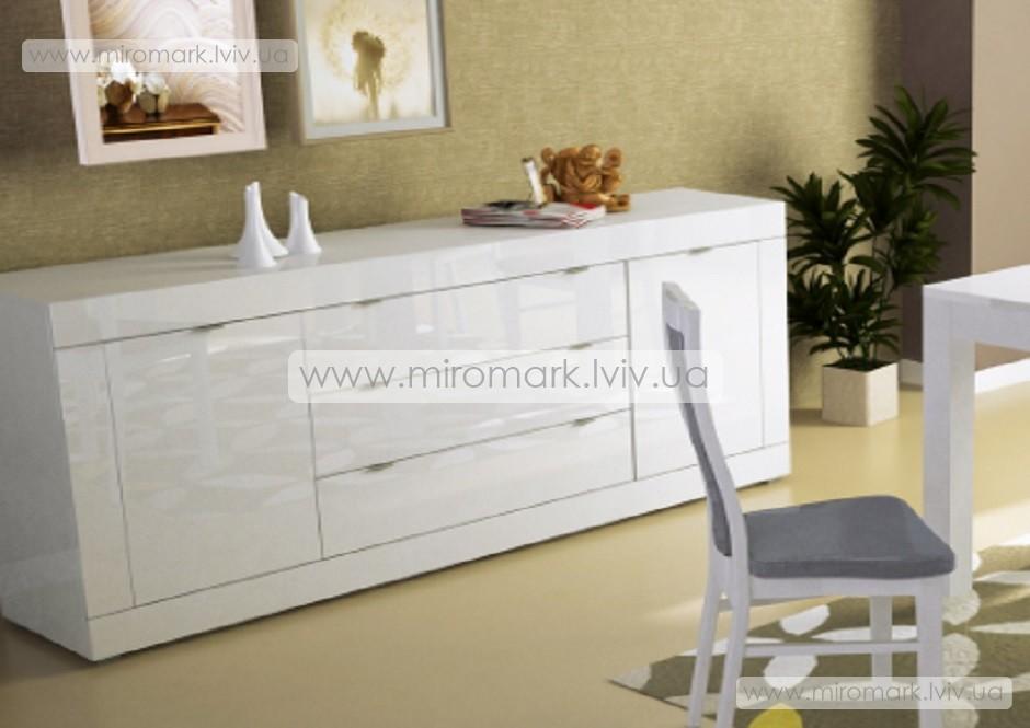 Венеция комод 2 м белый глянец